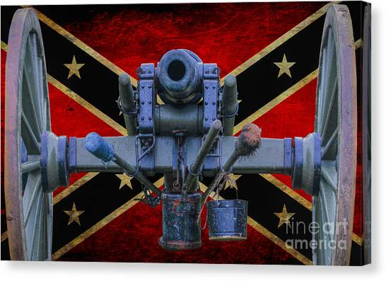 Confederate Army Canvas Print - Confederate Flag And Cannon by Randy Steele