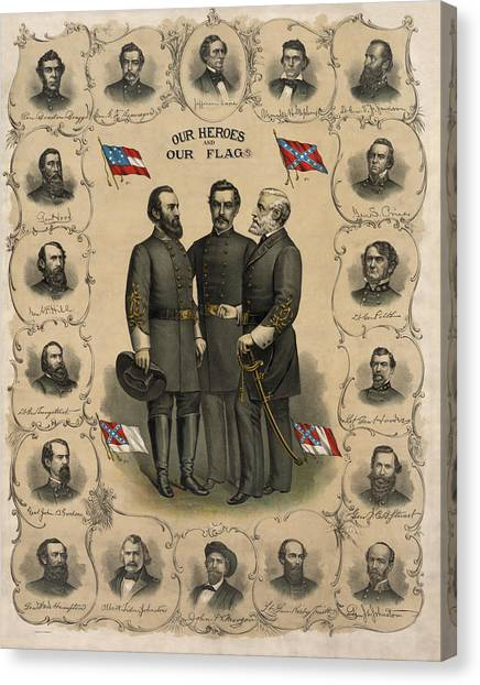 Confederate Army Canvas Print - Confederate Generals Of The Civil War by War Is Hell Store