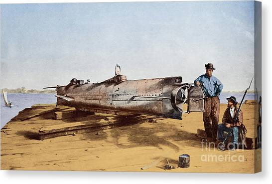 Submarine Canvas Print - Confederate Submarine, Hunley by Conrad Wide Chapman
