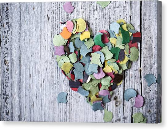 Hearts Canvas Print - Confetti Heart by Nailia Schwarz