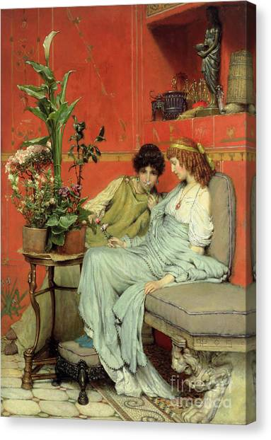 Statue Portrait Canvas Print - Confidences by Sir Lawrence Alma-Tadema