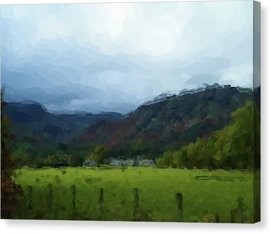 Coniston Watercolour Sketch Canvas Print
