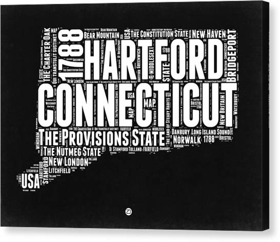 Connecticut Canvas Print - Connecticut Black And White Word Cloud Map by Naxart Studio
