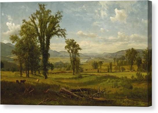 Canvas Print featuring the painting Connecticut River Valley, Claremont, New Hampshire by Albert Bierstadt