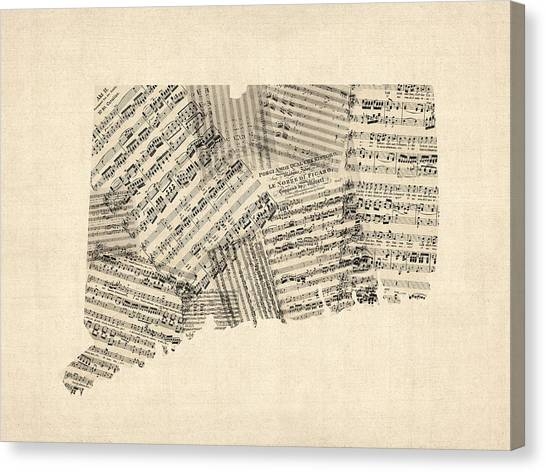 Geography Canvas Print - Connecticut Sheet Music Map by Michael Tompsett
