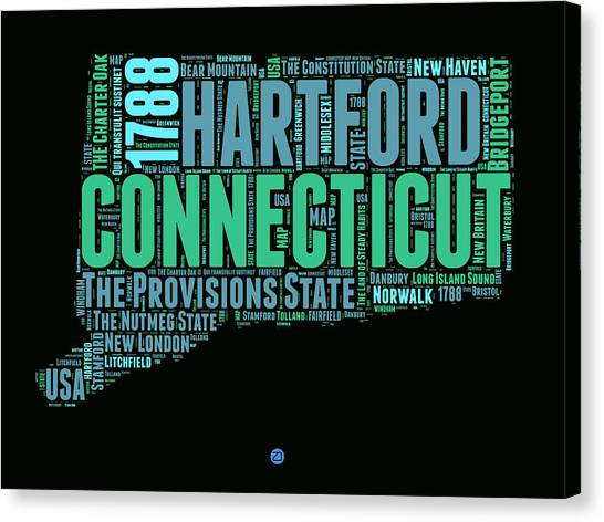 Connecticut Canvas Print - Connecticut Word Cloud Map 1 by Naxart Studio