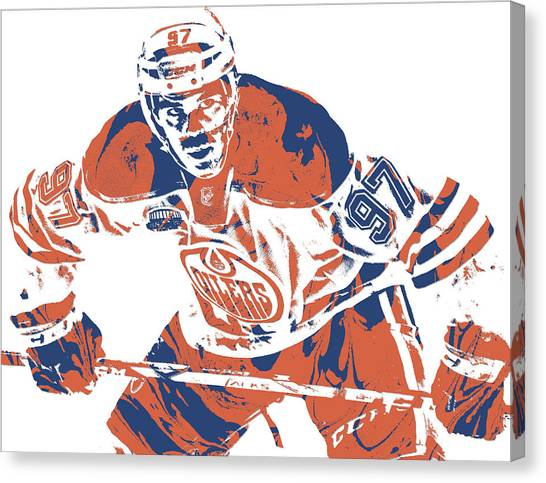 Edmonton Oilers Canvas Print - Connor Mcdavid Edmonton Oilers Pixel Art 1 by Joe Hamilton