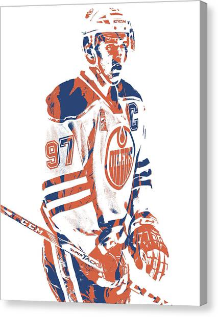 Edmonton Oilers Canvas Print - Connor Mcdavid Edmonton Oilers Pixel Art 2 by Joe Hamilton