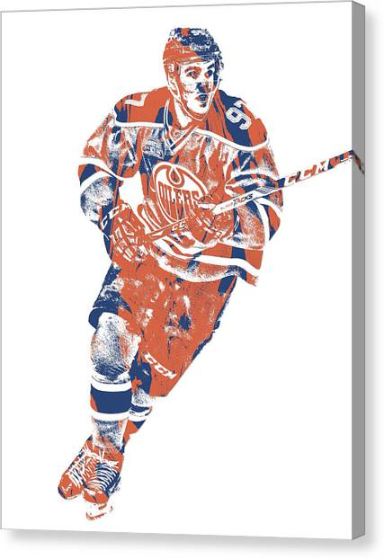 Edmonton Oilers Canvas Print - Connor Mcdavid Edmonton Oilers Pixel Art 5 by Joe Hamilton
