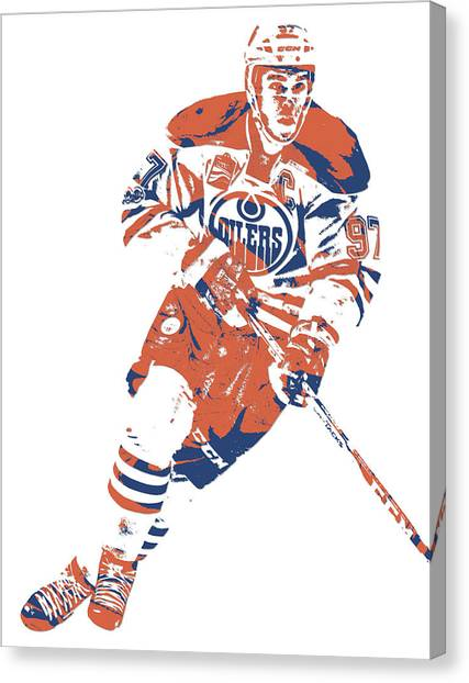 Edmonton Oilers Canvas Print - Connor Mcdavid Edmonton Oilers Pixel Art 6 by Joe Hamilton