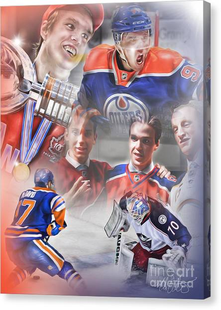 Edmonton Oilers Canvas Print - Connor Mcdavid by Mike Oulton