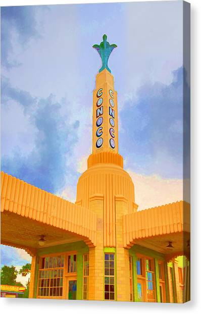 Historic Route 66 Canvas Print - Conoco Tower by Ricky Barnard
