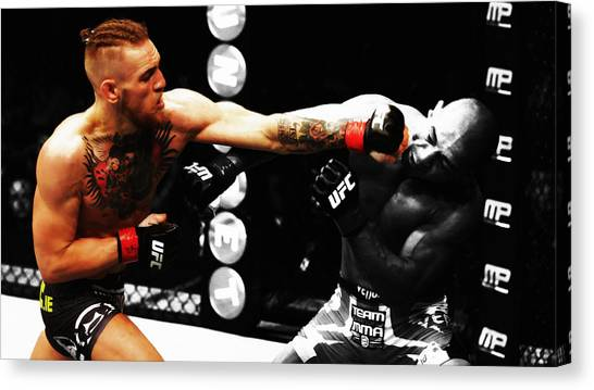 Anthony Martial Canvas Print - Conor Mcgregor Connecting To The Jaw by Brian Reaves