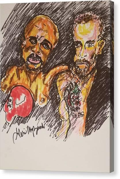 Floyd Mayweather Canvas Print - Conor Mcgregor Vs Floyd Mayweather by Geraldine Myszenski