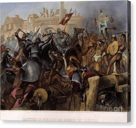 Axes Canvas Print - Conquest Of Mexico, 1521 by Granger