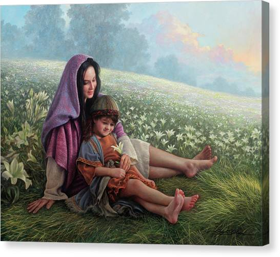 Mary Canvas Print - Consider The Lilies by Greg Olsen