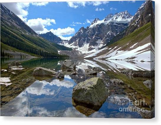 Canada Glacier Canvas Print - Consolation Lakes Reflections by Adam Jewell