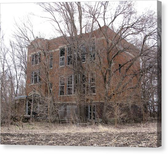 Abandoned School Canvas Print - Consolidated School District by Gary Gunderson