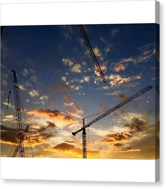 Water Birds Canvas Print - Construction Cranes At Sunset by Juan Silva