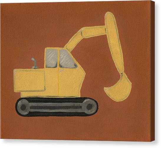 Backhoes Canvas Print - Construction Digger by Katie Carlsruh