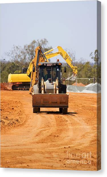 Excavators Canvas Print - Construction Digger by Jorgo Photography - Wall Art Gallery