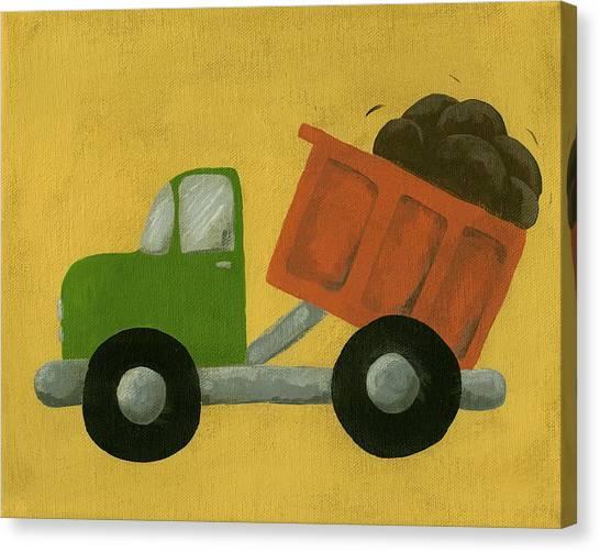Dump Trucks Canvas Print - Construction Dump Truck Nursery Art by Katie Carlsruh