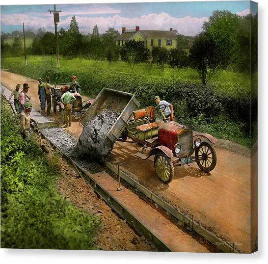 Pavers Canvas Print - Construction - Dumping Made Easy 1925 by Mike Savad