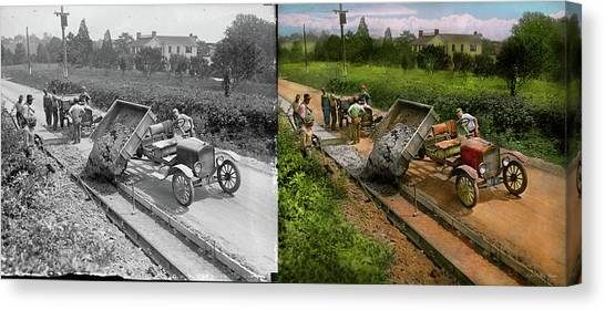 Pavers Canvas Print - Construction - Dumping Made Easy 1925 - Side By Side by Mike Savad