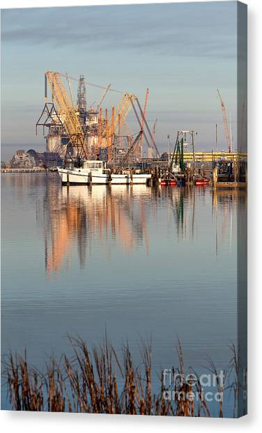 Fracking Canvas Print - Construction Of Oil & Gas Offshore by Inga Spence