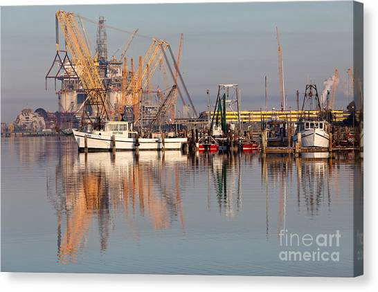 Fracking Canvas Print - Construction Of Oil Platform With Boats by Inga Spence