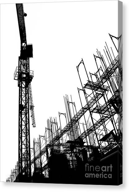 Balance Beam Canvas Print - Construction Site With Crane And Scaffolding by Yali Shi