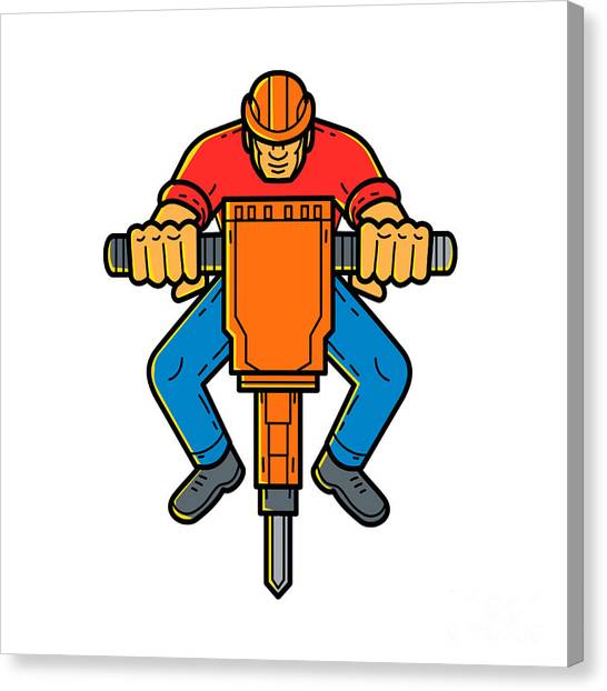 Jackhammers Canvas Print - Construction Worker Jackhammer Mono Line Art by Aloysius Patrimonio