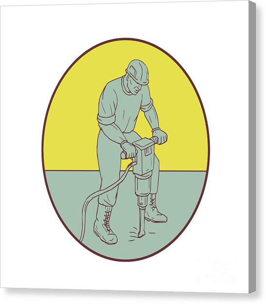 Jackhammers Canvas Print - Construction Worker Operating Jackhammer Oval Drawing by Aloysius Patrimonio