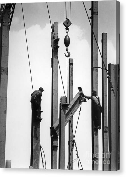 Balance Beam Canvas Print - Construction Workers Raising Steel by H. Armstrong Roberts/ClassicStock