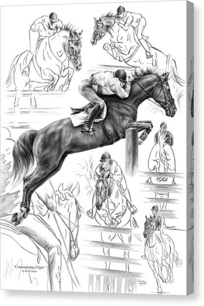 Contemplating Flight - Jumper Horse Drawing Canvas Print