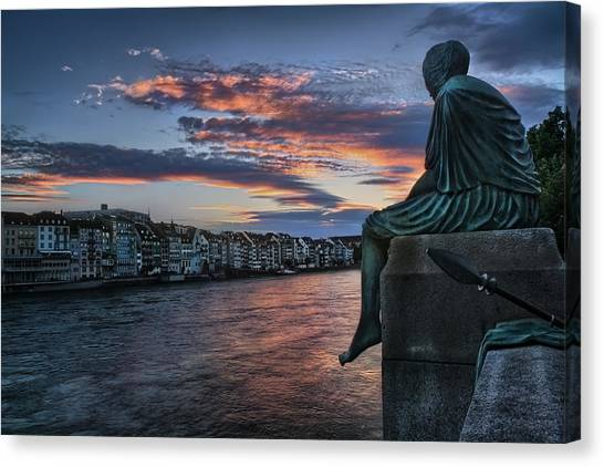 Bale Canvas Print - Contemplating Life In Basel by Carol Japp