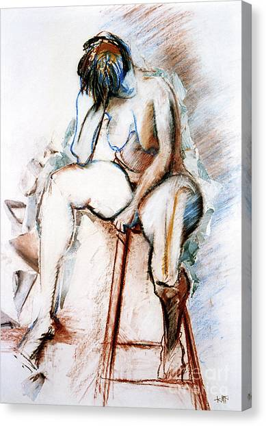 Contemplation - Nude On A Stool Canvas Print