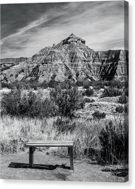 Contemplation Bench Bw Canvas Print