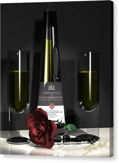 Contempoary Wine And Roses Canvas Print