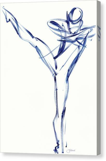 Contemporary Ballet Dancer, Blue Canvas Print