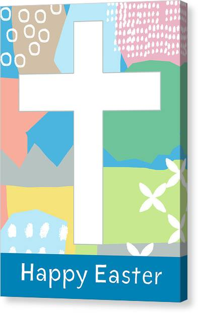 Easter Canvas Print - Contemporary Easter Cross- Art By Linda Woods by Linda Woods