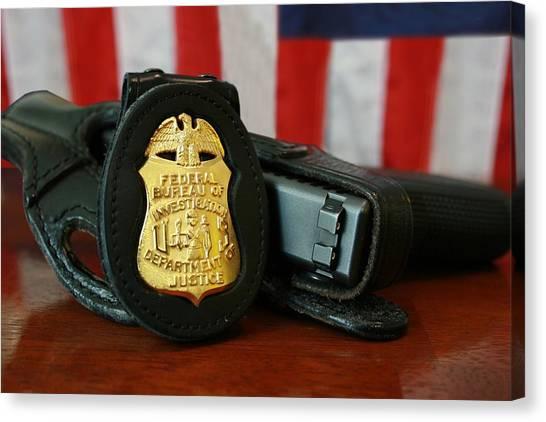 Fbi Canvas Print - Contemporary Fbi Badge And Gun by Everett