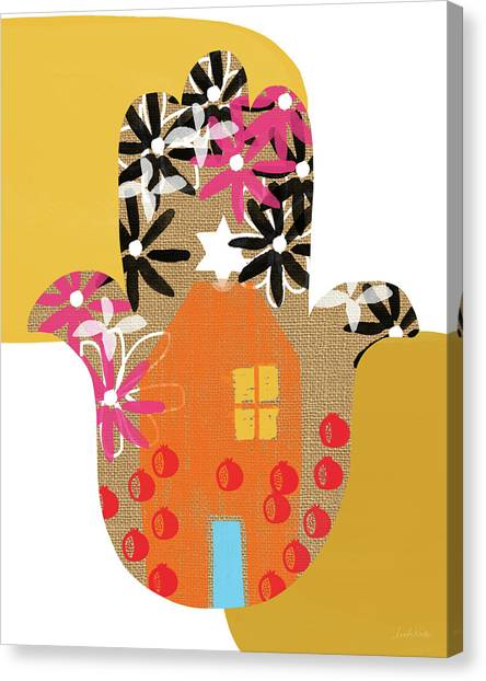 Hands Canvas Print - Contemporary Hamsa With House- Art By Linda Woods by Linda Woods