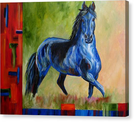 Contemporary Horse Painting Fresian Canvas Print