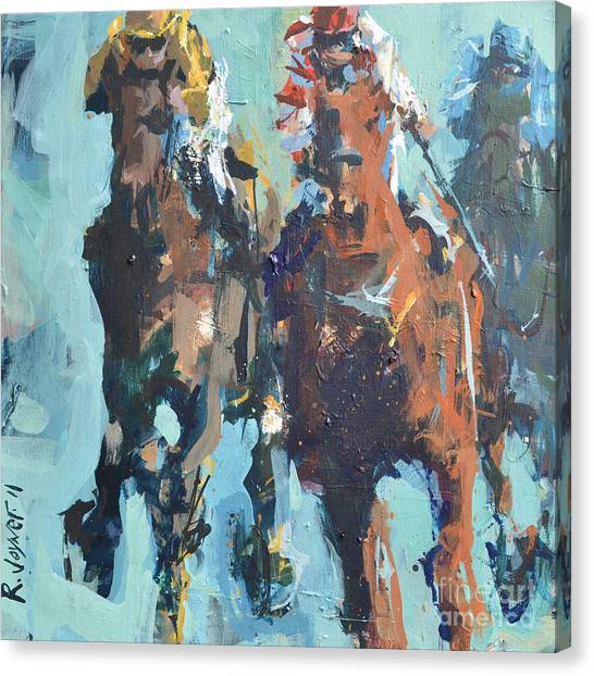 Contemporary Horse Racing Painting Canvas Print