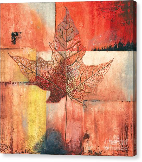 Winery Canvas Print - Contemporary Leaf 2 by Debbie DeWitt
