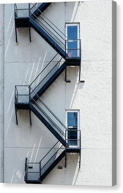 Contemporary Minimalist Photography Of Stairwell Canvas Print by Dylan Murphy
