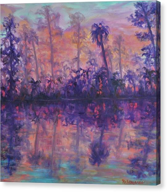 Contemporary Nature Painting Tropical Lake Sunset Canvas Print