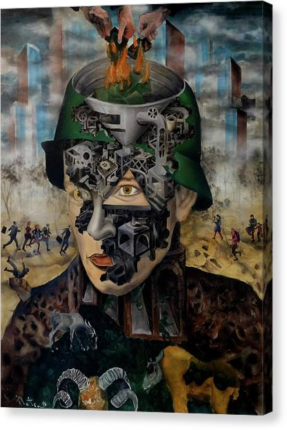 Canvas Print featuring the painting Contemporary War by Obie Platon