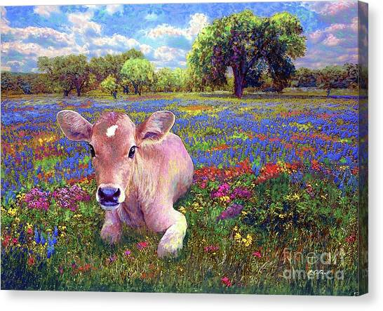 Michigan Canvas Print - Contented Cow In Colorful Meadow by Jane Small